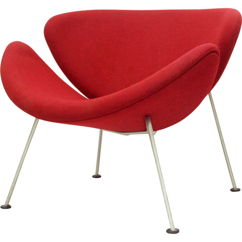 Early Dutch Red Lounge Chair Model Orange Slice by Pierre Paulin for Artifort