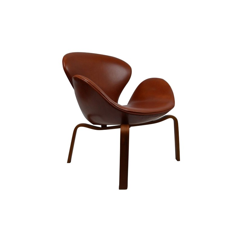 Swan Armchair In Teak And Cognac Leather Arne Jacobsen 1958