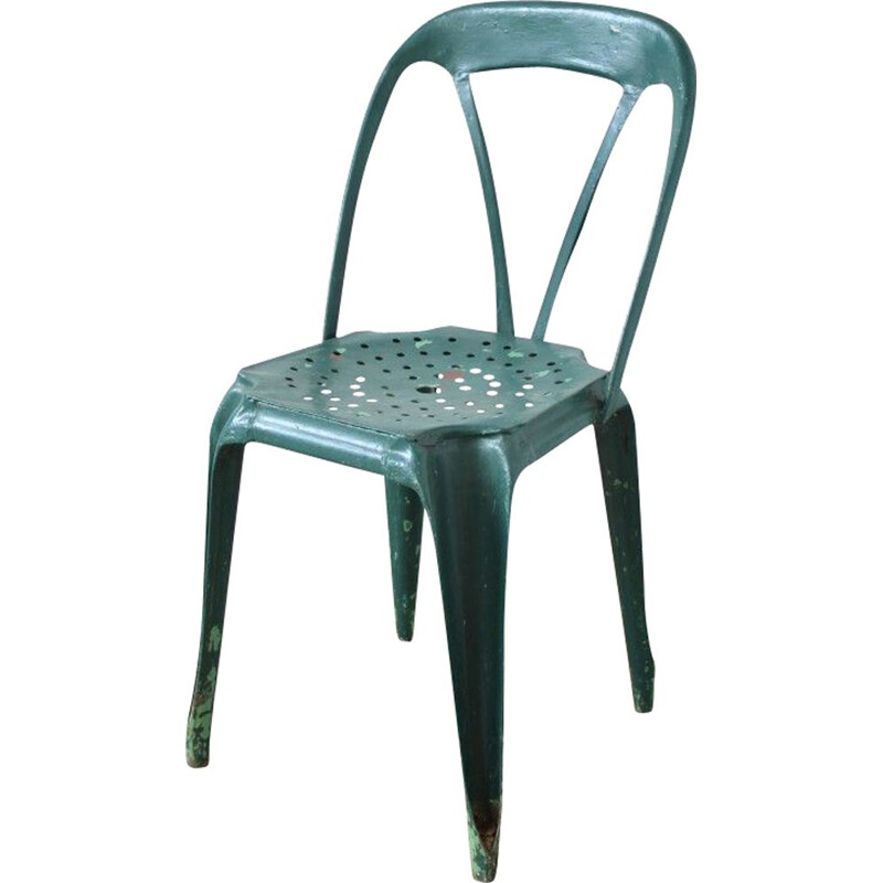 Set of 6 vintage dark green chairs by Joseph Mathieu