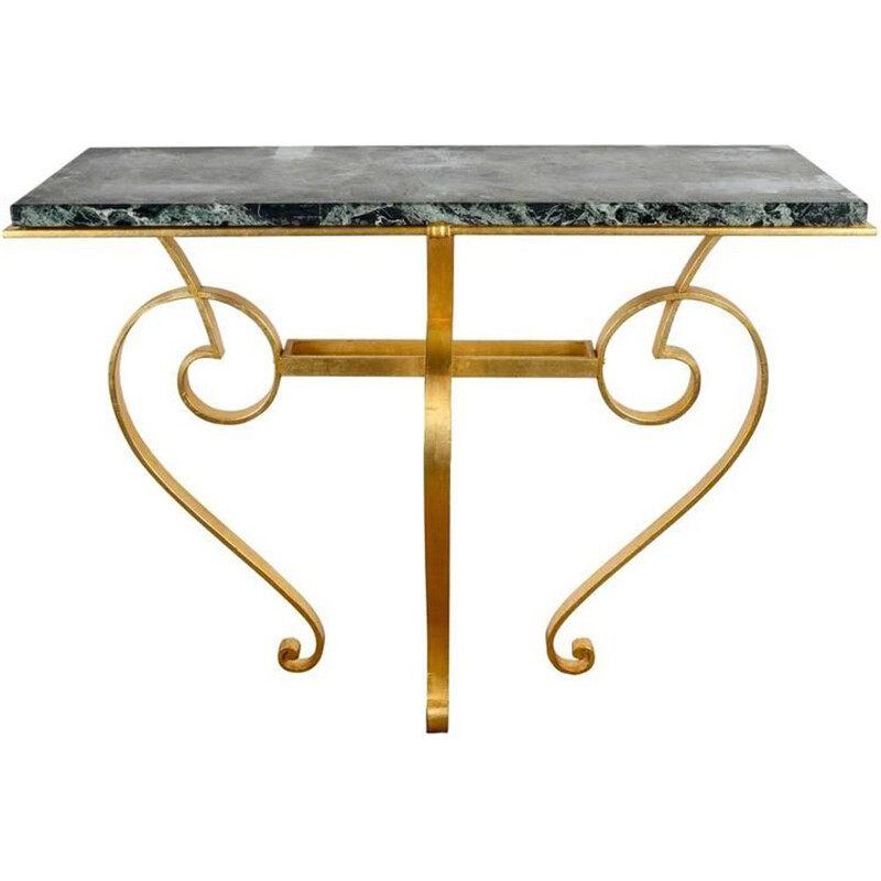 Vintage console in iron and marble