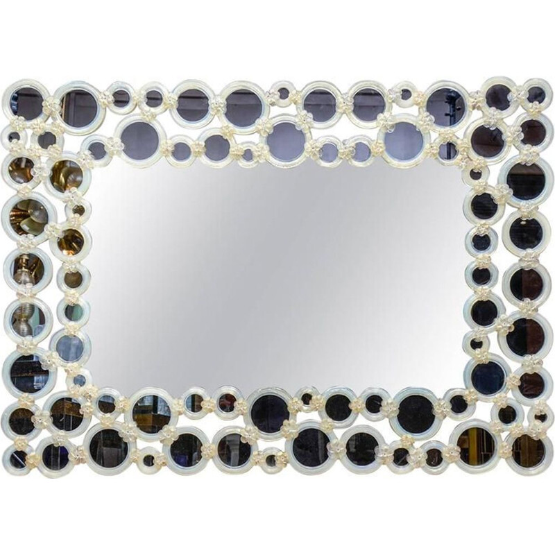 Vintage mirror in Murano glass and circles in opaline