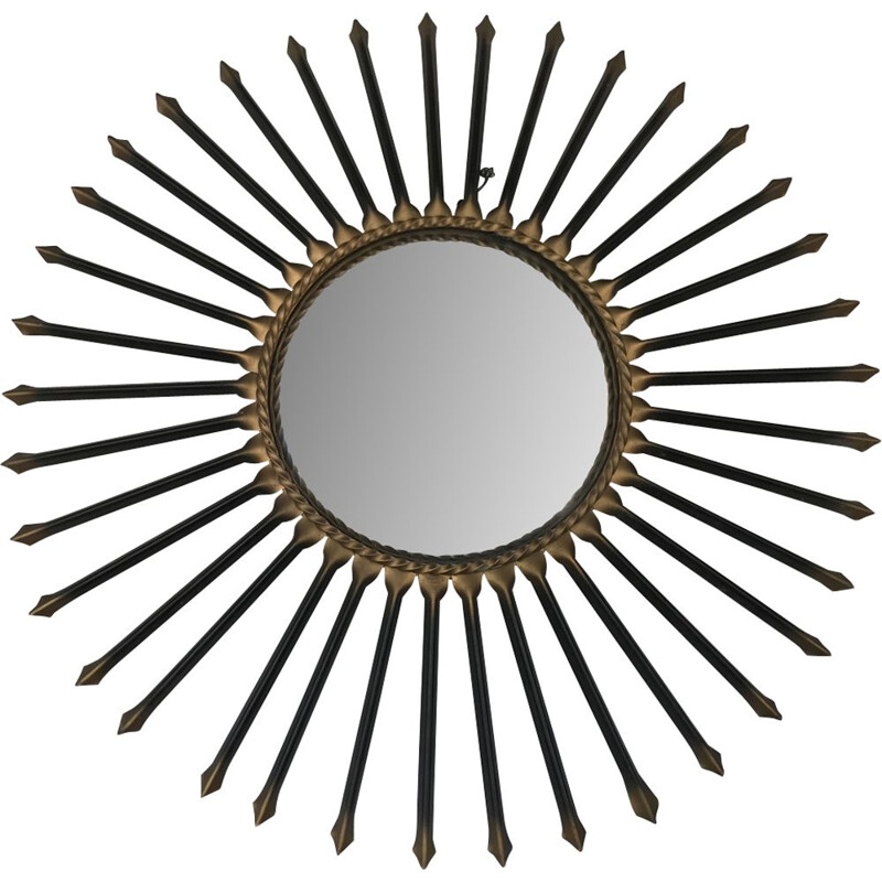 Vintage sun mirror in gilded metal by Chaty Vallauris