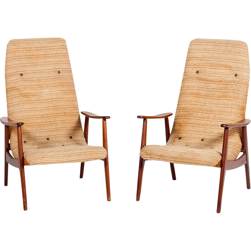 "Set of 2 vintage armchairs ""Senior"" by Louis van Teeffelen for WéBé"