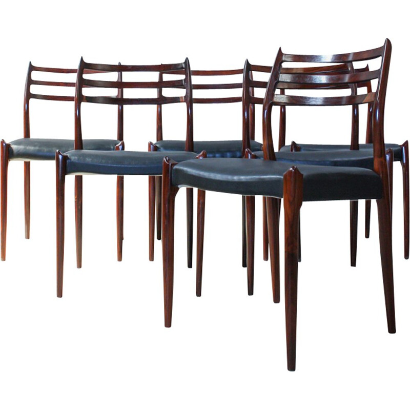 "Set of 6 vintage dining chairs ""Model 78"" in rosewood by Niels O. Møller for J. L. Møllers Møbelfabrik"