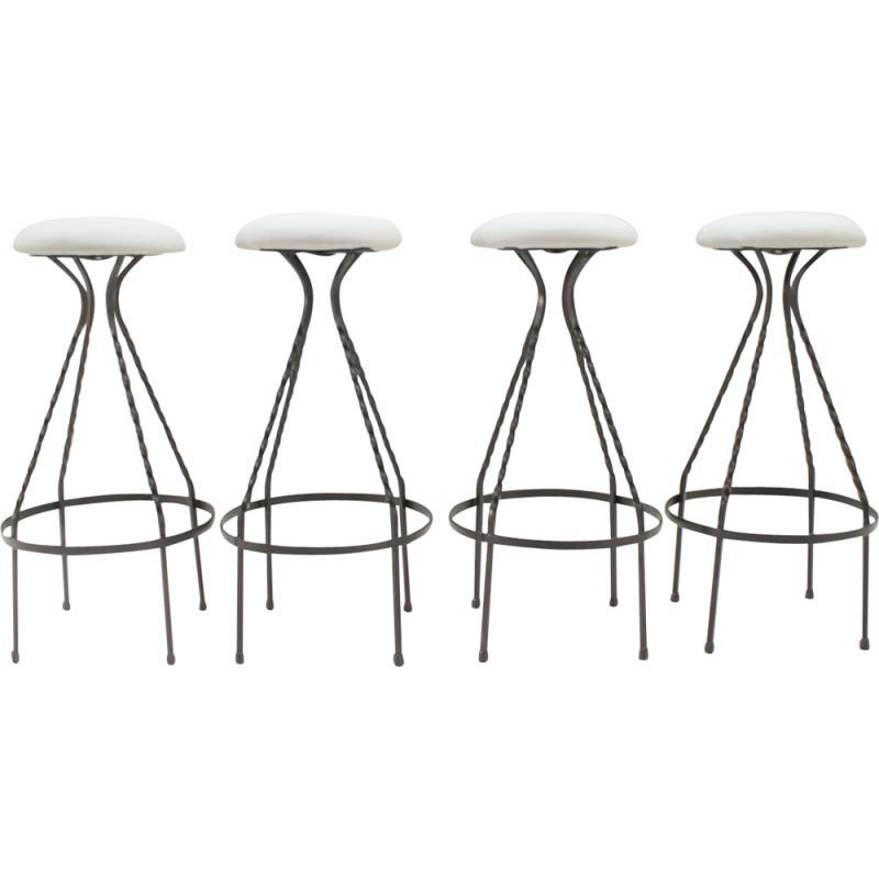 Tremendous Set Of 4 Vintage German Bar Stools In Iron Caraccident5 Cool Chair Designs And Ideas Caraccident5Info