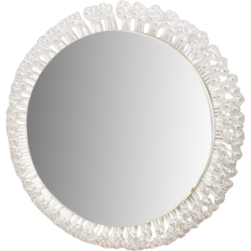 Round Illuminated Wall Mirror with Glass Flowers by Emil Stejnar for Rupert Nikoll