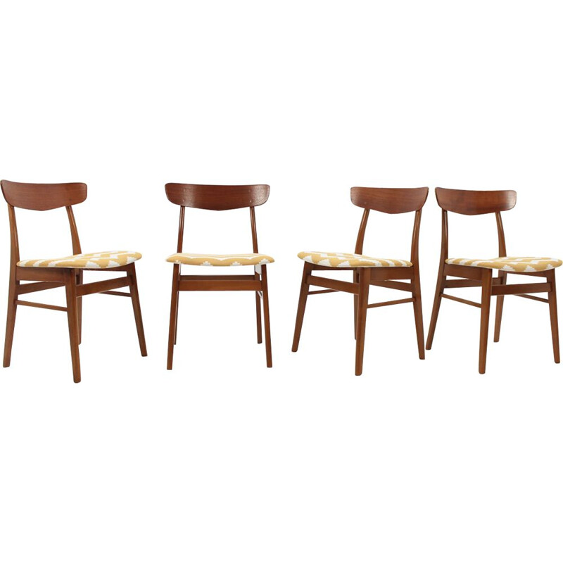 Vintage set of 4 chairs in teak
