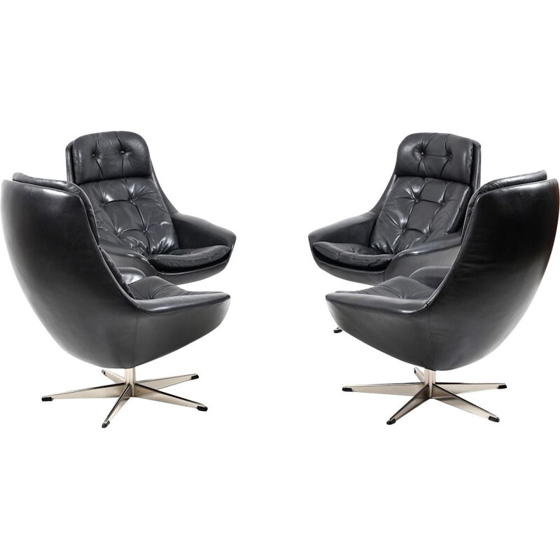 Set of 4 vintage black leather swivel lounge chair by H. W. Klein