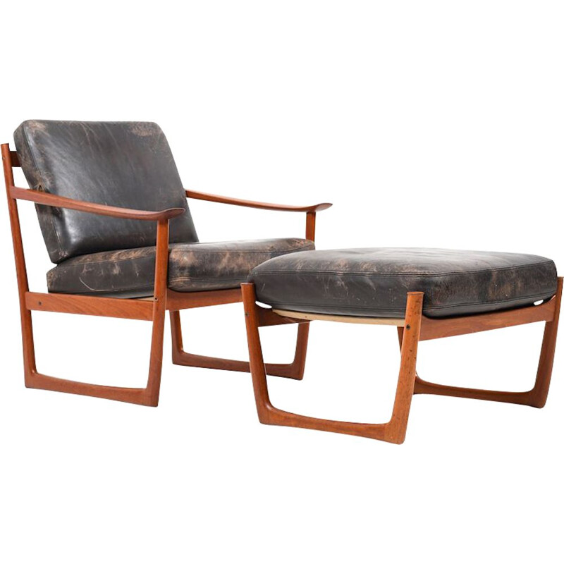 Vintage danish lounge chair and footstool by Peter Hvidt & Orla Mølgaard-Nielsen