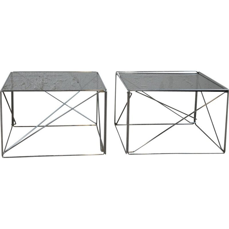 Vintage set of 2 coffe tables in steel and glass by Max Sauze
