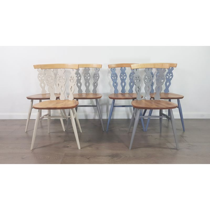 best loved c27d4 575b5 Set of 6 vintage coloured Ercol dining chairs by Lucian Ercolani