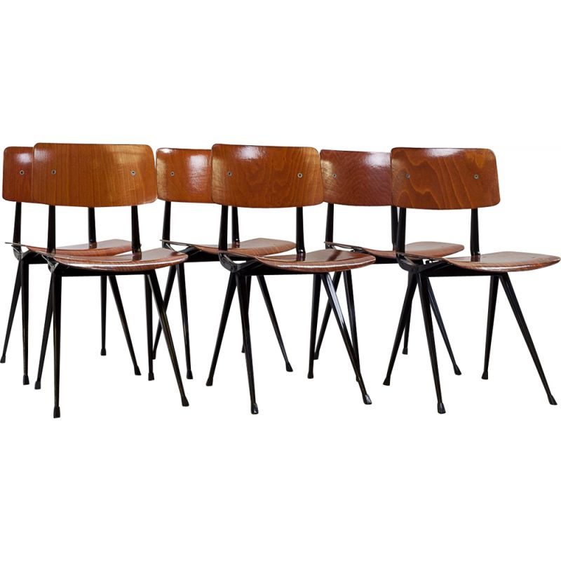 Set Of 6 Vintage Compass Chairs By Friso Kramer