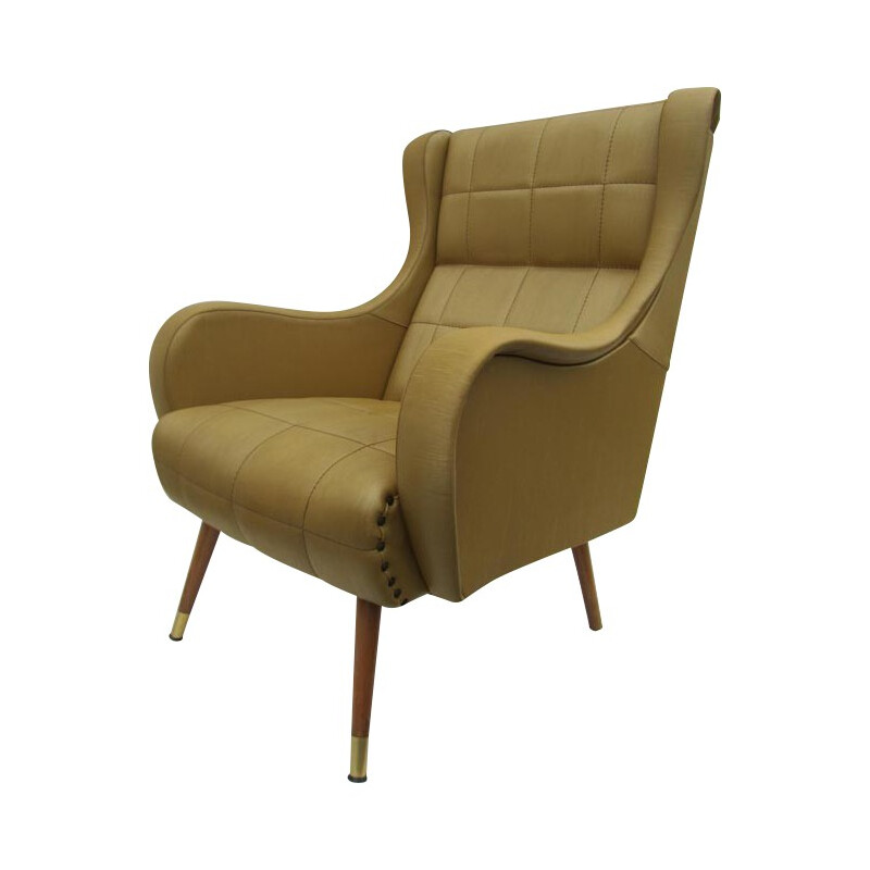 Vintage lounge chair in leatherette, wood and brass - 1960s