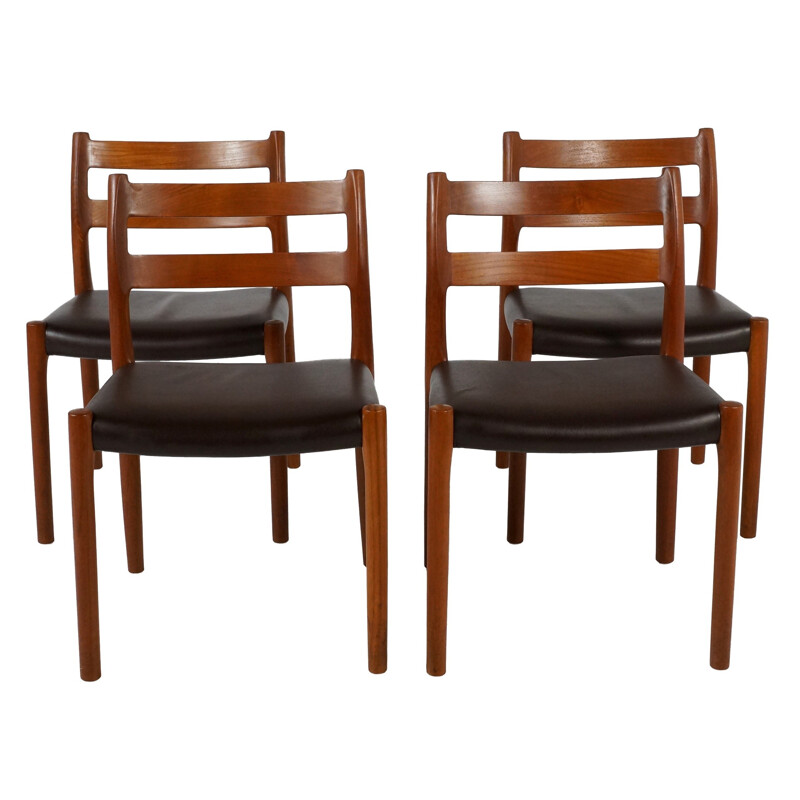 Set of 4 chairs in teak and leatherette - 1970s