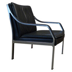 Vintage armchair in leather and brushed steel, Preben FABRICIUS and Jorgan KASTHOLM, Walter Knoll edition - 1960s