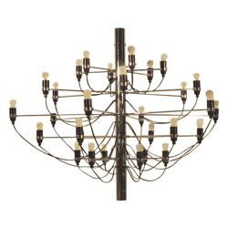 Chandelier in chromed steel and glass model 2097, Gino SARFATTI - 1970s