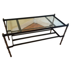 Coffee table in saddle-stitched black leather, bronze and glass, Jacques ADNET - 1950s