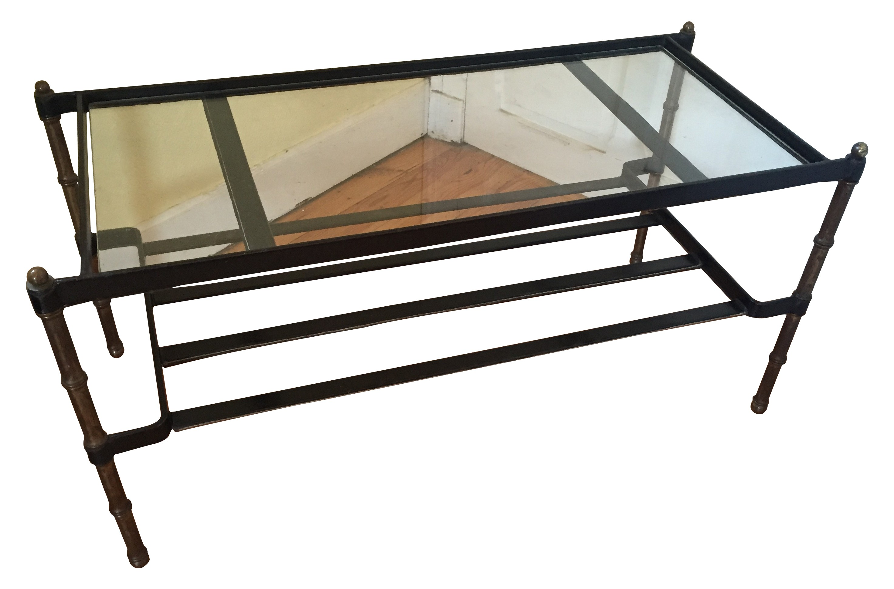 Coffee table in saddle stitched black leather bronze and glass