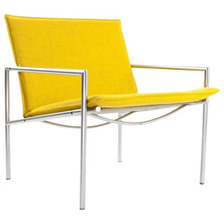 Easy chair SZ03 in yellow fabric and chromed metal, Martin VISSER, T Spectrum edition - 1960s