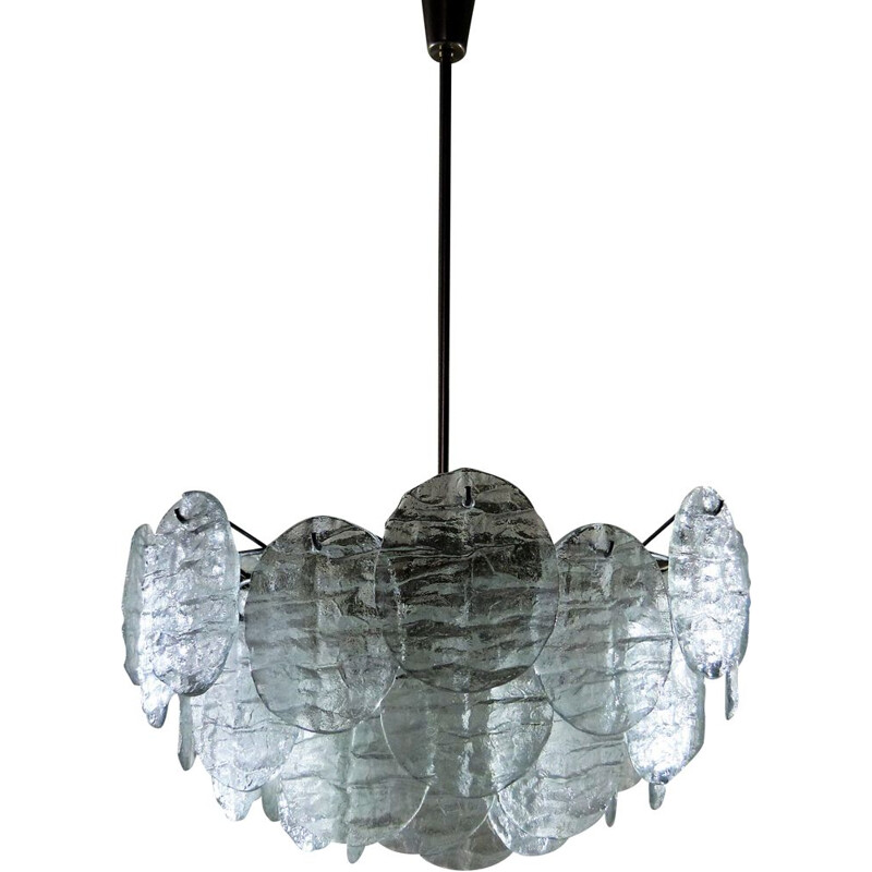 Large vintage Kalmar chandelier with ice glass discs