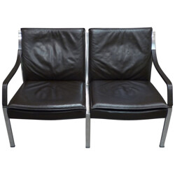 Vintage sofa in leather and steel, Preben FABRICIUS, Walter Knoll edition - 1970s