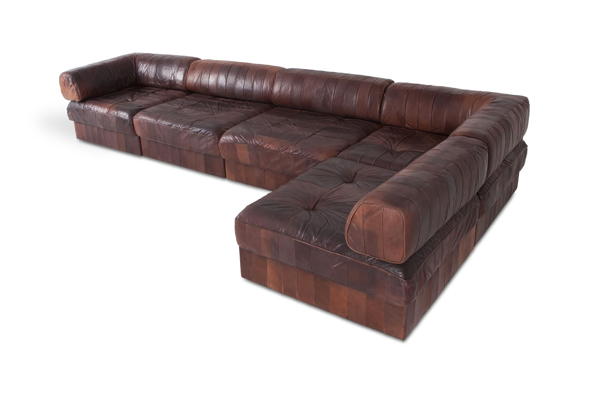 De Sede Patchwork.Vintage Modular Brown Cognac Leather Patchwork Sofa By De Sede