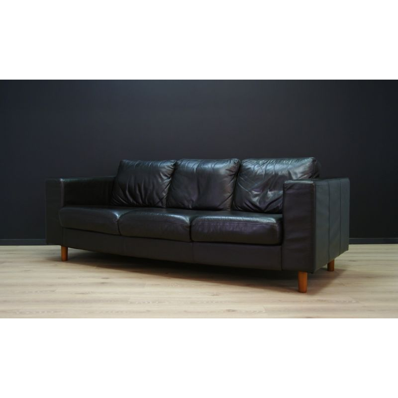 Incredible Vintage Scandinavian Design Sofa In Black Leather 1970 Gmtry Best Dining Table And Chair Ideas Images Gmtryco