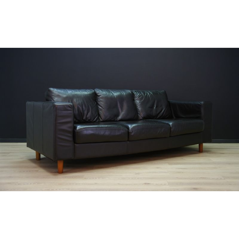Astonishing Vintage Scandinavian Design Sofa In Black Leather 1970 Gmtry Best Dining Table And Chair Ideas Images Gmtryco