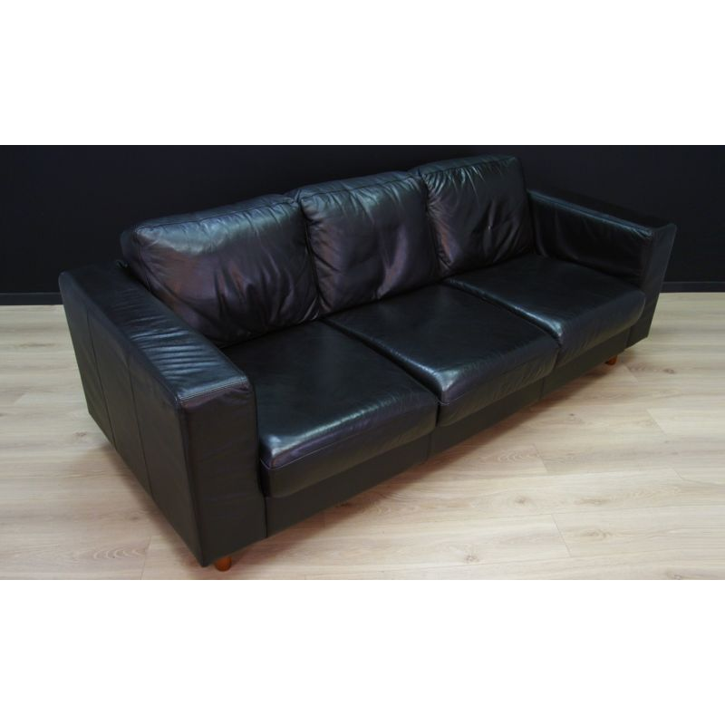 Astounding Vintage Scandinavian Design Sofa In Black Leather 1970 Gmtry Best Dining Table And Chair Ideas Images Gmtryco