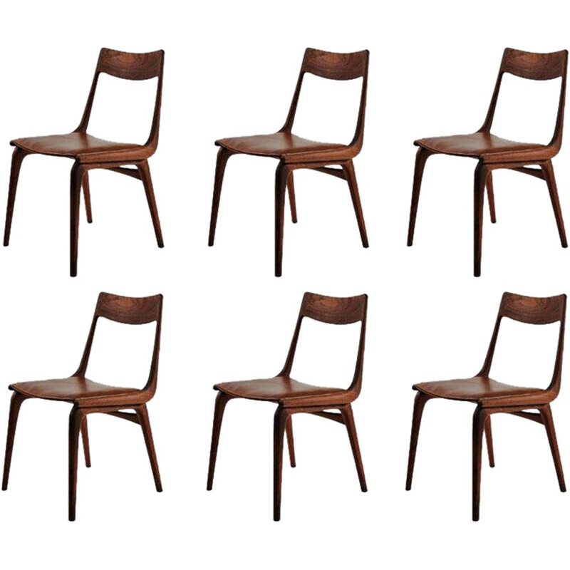 Set of 6 dining chairs in teak by Alfred Christensen