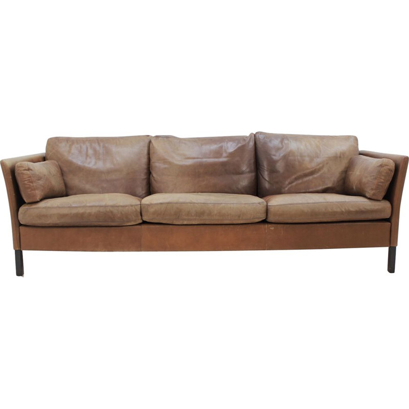 Vintage Danish 3-seater sofa in brown leather by Georg Thams
