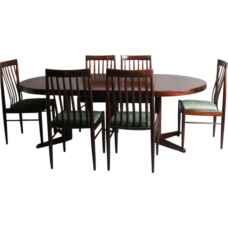 Vintage Danish dining set in mahogany by H.W. Klein for Bramin