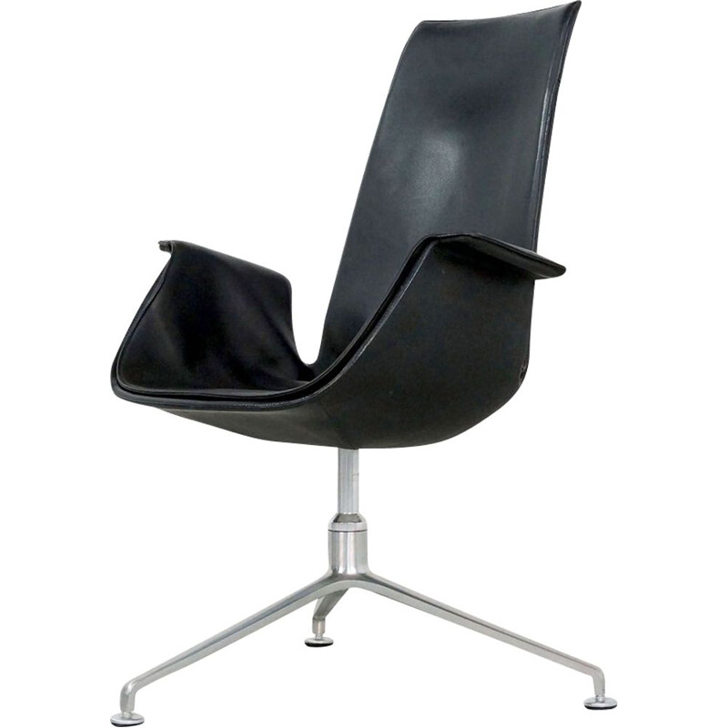 Vintage bird armchair in black leather by Fabricius & Kastholm for Kill International