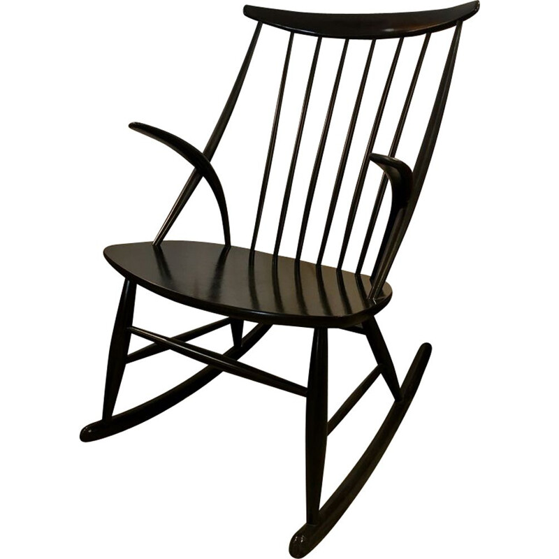 Vintage black rocking chair by Illum Wikkelso for Niels Eilersen