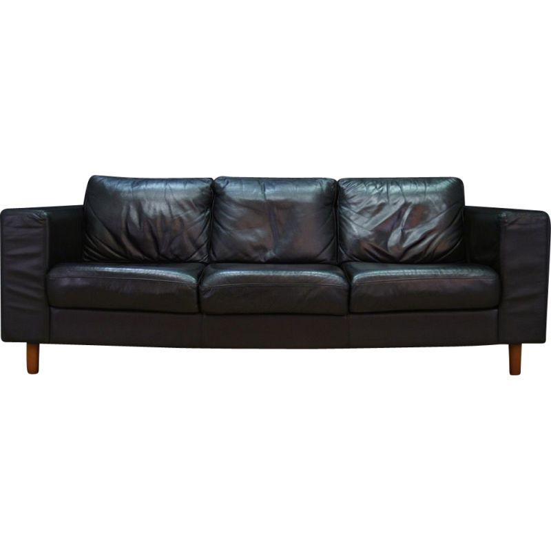 Awesome Vintage Scandinavian Design Sofa In Black Leather 1970 Gmtry Best Dining Table And Chair Ideas Images Gmtryco