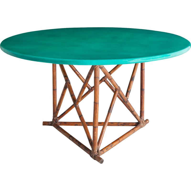 Vintage green dining table in bamboo