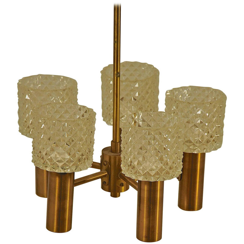Vintage hanging lamp in brass and glass - 1950s