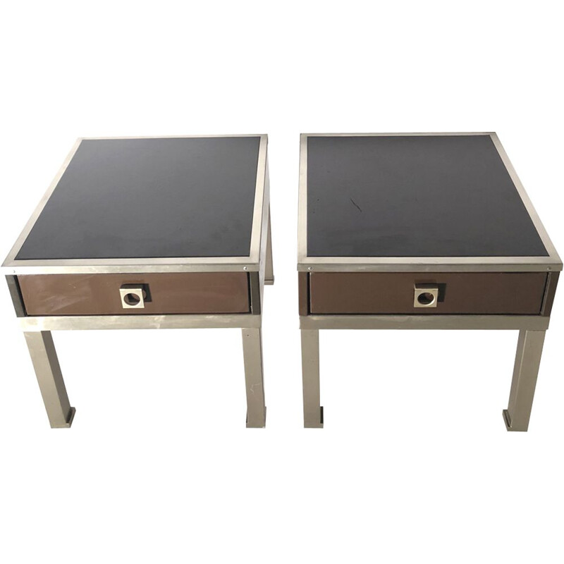 Set of 2 vintage painted bedside tables by Guy Lefèvre
