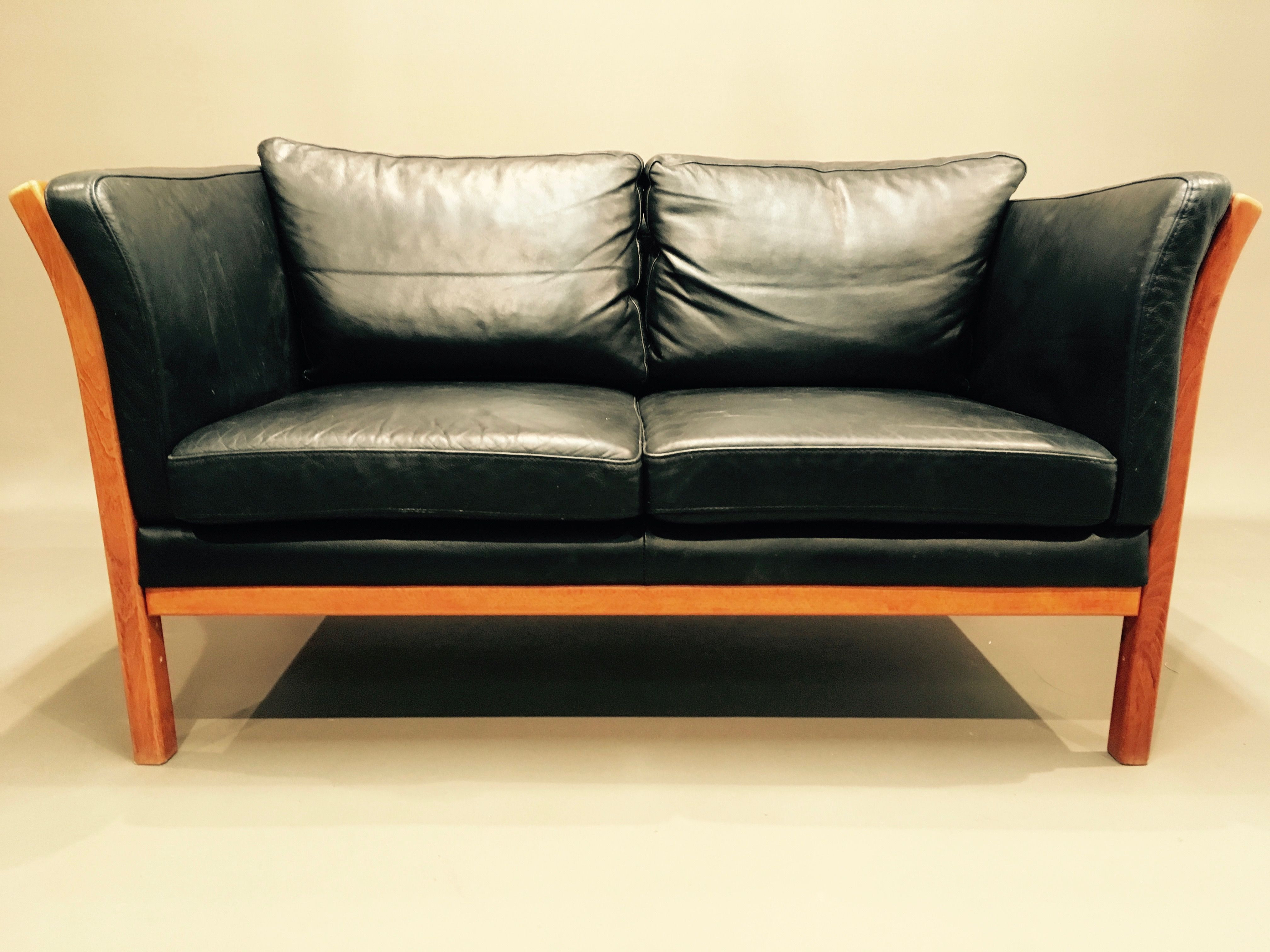 Vintage Scandinavian 2 Seater Sofa In Black Leather