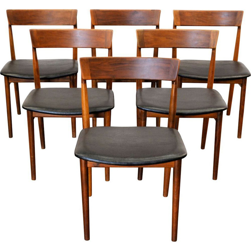 Set of 6 vintage dining chairs in rosewood by Henry Rosengren