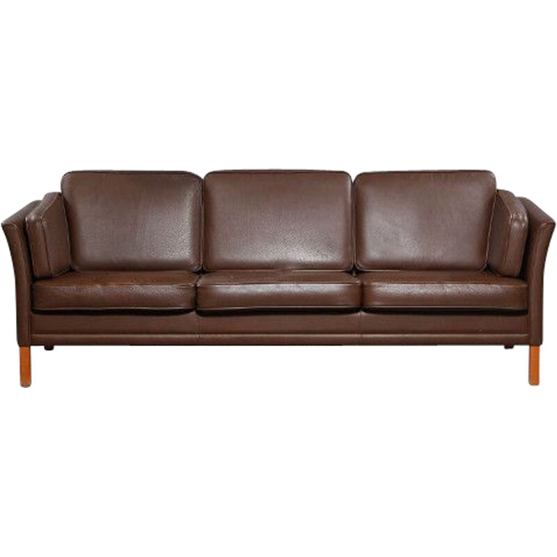 Vintage 3-seaters sofa MH2225 by Mogens Hansen in brown leather