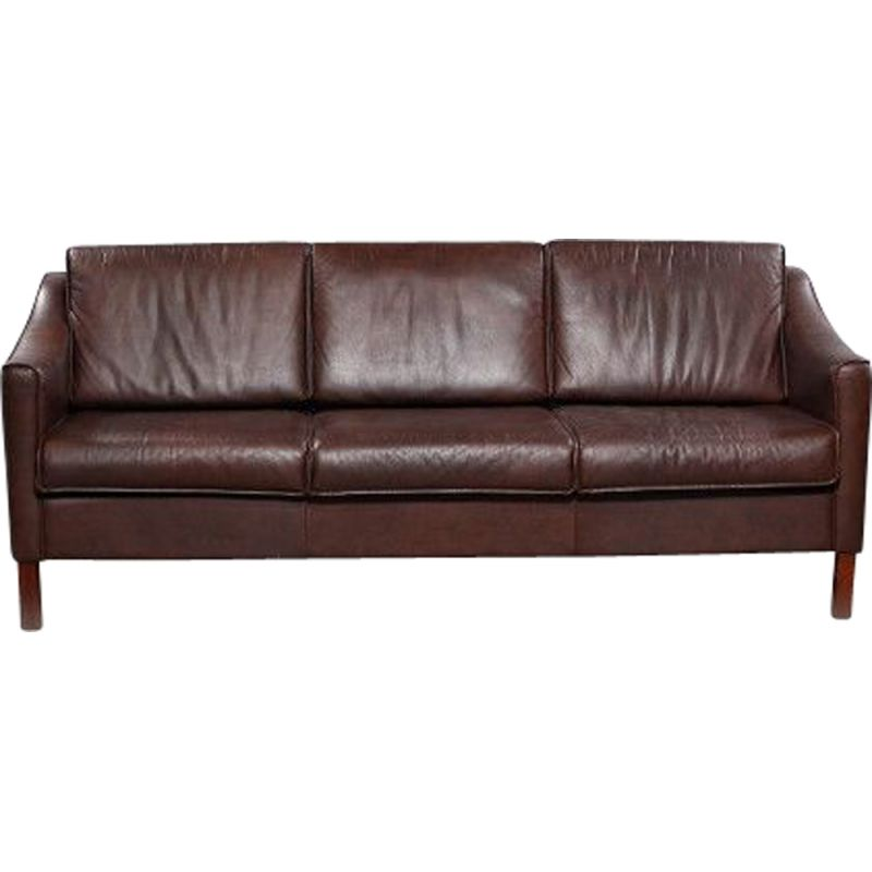 Prime Vintage Danish 3 Seater Sofa In Brown Leather Onthecornerstone Fun Painted Chair Ideas Images Onthecornerstoneorg