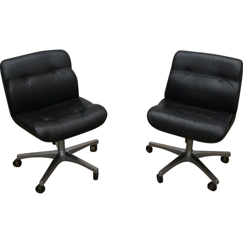 Pair of vintage brazilians armchairs in leather and aluminium