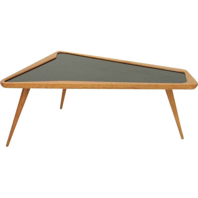 Vintage coffee table in oakwood and formica by Charles Ramos