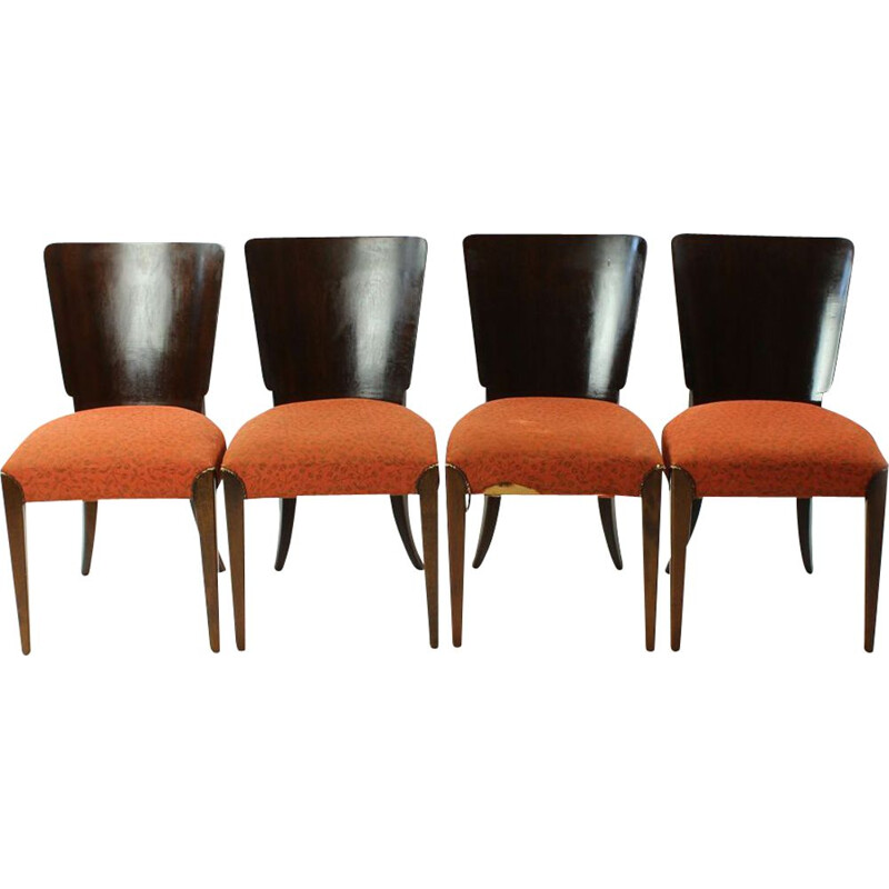 Set of 4 vintage dining chairs H-214 by Halabala 1930