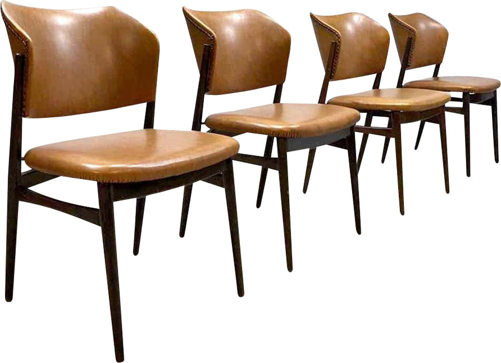 Vintage Danish Dining Chairs In Cognac Leather Design Market