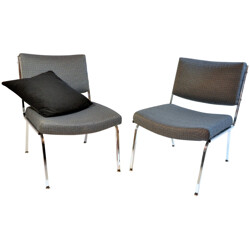 Pair of vintage low chairs in black and white fabric and chromed metal - 1960s