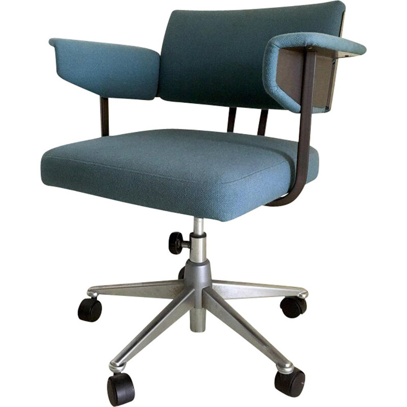 Vintage industrial blue desk chair model Resort by Friso Kramer for Ahrend