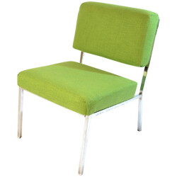Vintage low chair in green fabric and chromed metal - 1970s