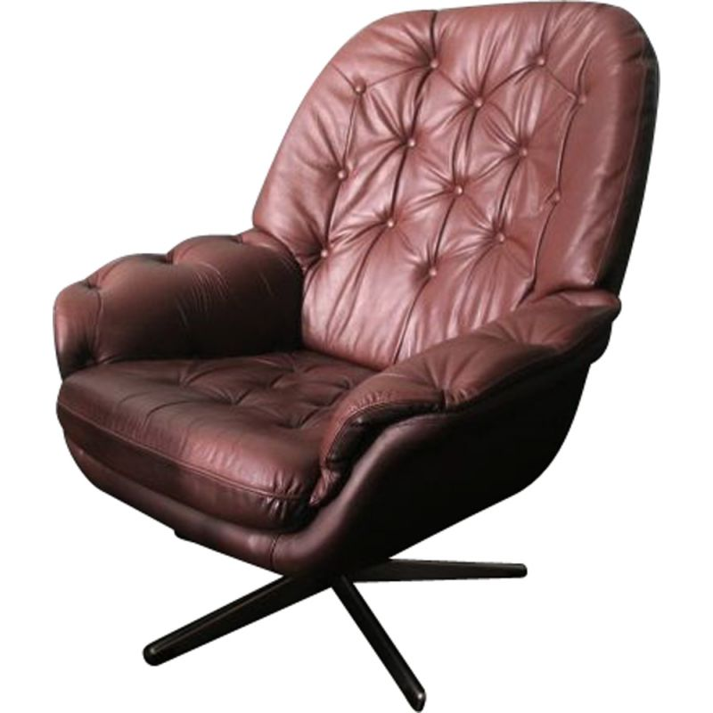 Chair Vintage Swivel Scandinavian Brown Leather Buttoned Lounge SzVpqUMG